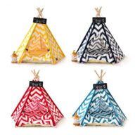 Dog Bed Tent: Multi-color Pet Show Tent Portable Outdoor Play Cotton Canvas Teepee 06-0941 Pet Tents: Pet Teepee Bed House Folding Dog Cat Tents Dog Tent outdoor pet tent